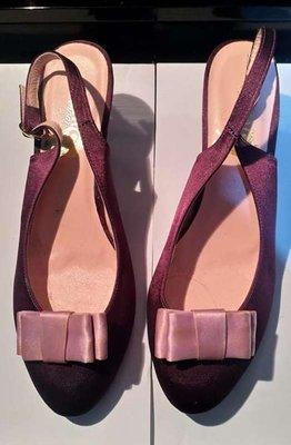 高級晚宴亮紫加嫩粉紅高跟鞋