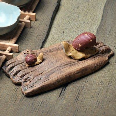 茶寵擺件茶具配件茶道茶玩紫砂茶寵精品樹枝蝸牛茶趣茶盤擺飾小蝸牛