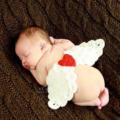 【可愛村】兒童嬰兒滿月拍照攝影針織天使翅膀造型服裝 寶寶攝影服 滿月攝影 寶寶拍照 沙龍照