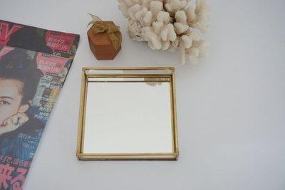 [ Atelier Smile ] 鄉村雜貨 復古歐式 手工銅製方形 玻璃 首飾收納盒 16x16x2.5 # 鏡面#小