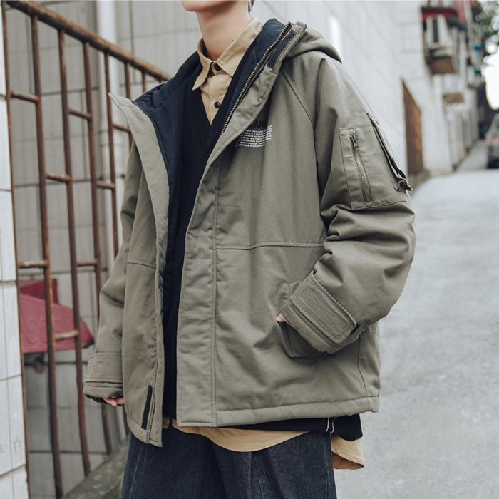 冬季新款加絨加厚日系復古工裝棉衣外套韓版潮流男士連帽棉服