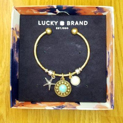 ❖客來兒美國集貨❖ LUCKY BBRAND 雙色設計 開口可調式 手環 海星 珍珠 寶石 只有一個 內徑58mm