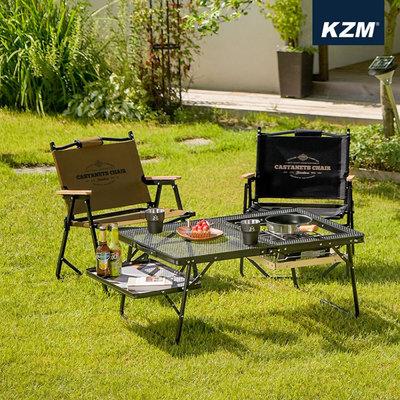 丹大戶外【KAZMI】素面木手把低座折疊椅 卡其、黑 K20T1C026 露營椅│輕便椅│折合椅│輕巧椅
