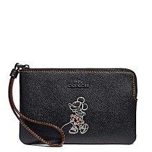 Coco小鋪 COACH 30004 Corner Zip Wristlet With Minnie Mouse 黑色