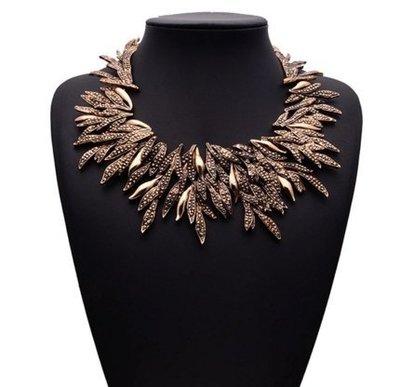 歐美大牌時尚誇張民族風複古柳葉項鏈 合金樹葉鎖骨鏈配飾
