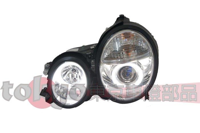 @Tokyo東京車燈部品@賓士E系 W210 96~02 LED雙光圈 H7魚眼晶鑽大燈組