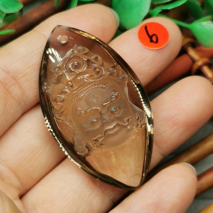 黃財神  高檔天然 茶水晶 項鍊墜 雕工精緻  ◎結緣價1880◎二姐的店W265-6
