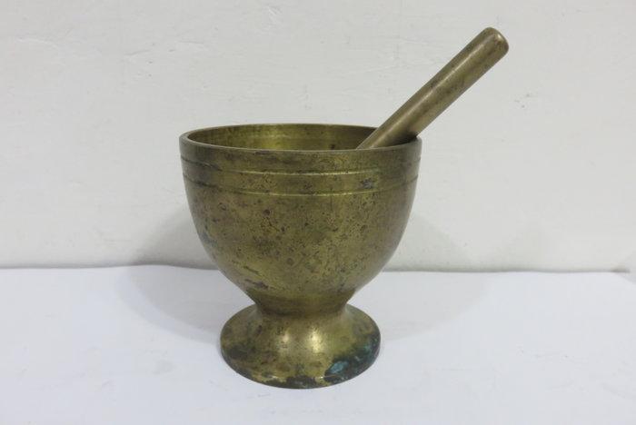 【讓藏】早期收藏鋼銅製中藥輾藥器,磨粉器,搗藥器.搗臼,老銅臼組,下標就賣