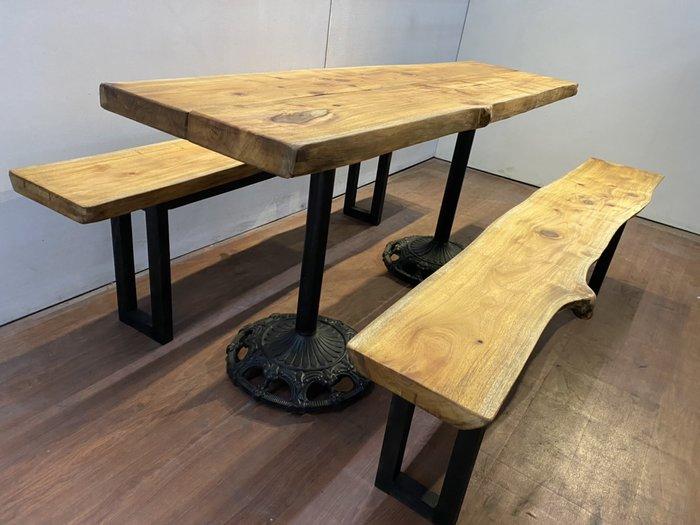 原木桃花心木板餐桌含長凳(含桌腳) 實木家具洽談桌 吧台桌 會議桌咖啡桌 觀景桌 戶外桌 A3936【晶選二手傢俱】