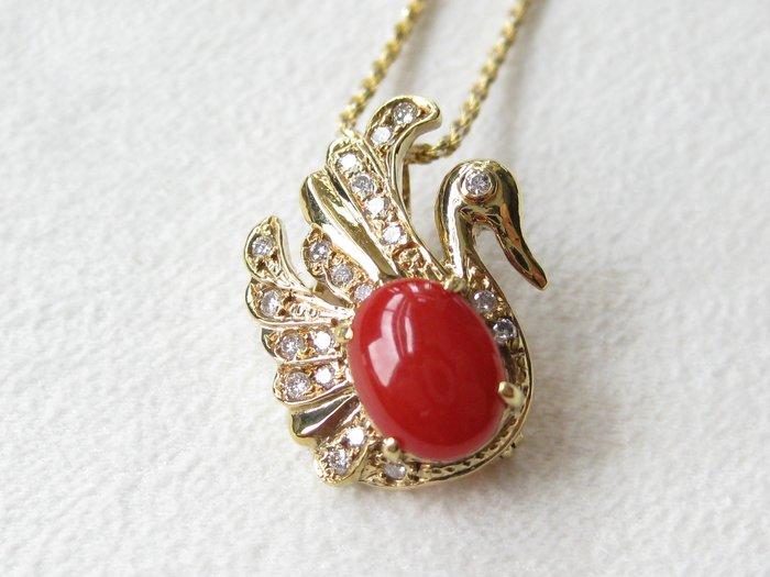 【Texture & Nobleness 低調與奢華】天然日本AKA紅珊瑚天鵝 配鑲天然真鑽 純手工18k兩用天鵝墜胸針