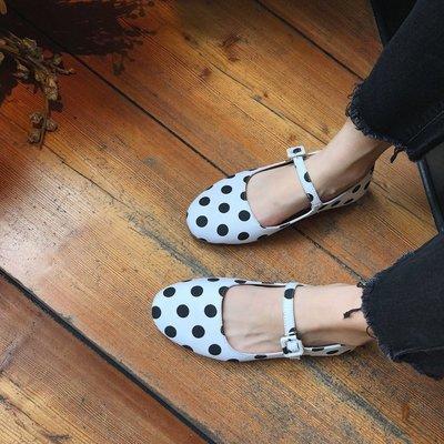 韓版 百搭款流行潮流小左家 復古波點淺口鞋夏季甜美瑪麗珍學生單鞋仙女鞋