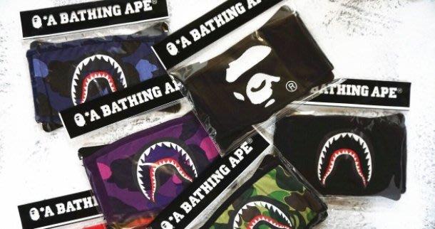 bape 鯊魚人黑色 迷彩純棉口罩bape 刺繡 口罩 shark mask