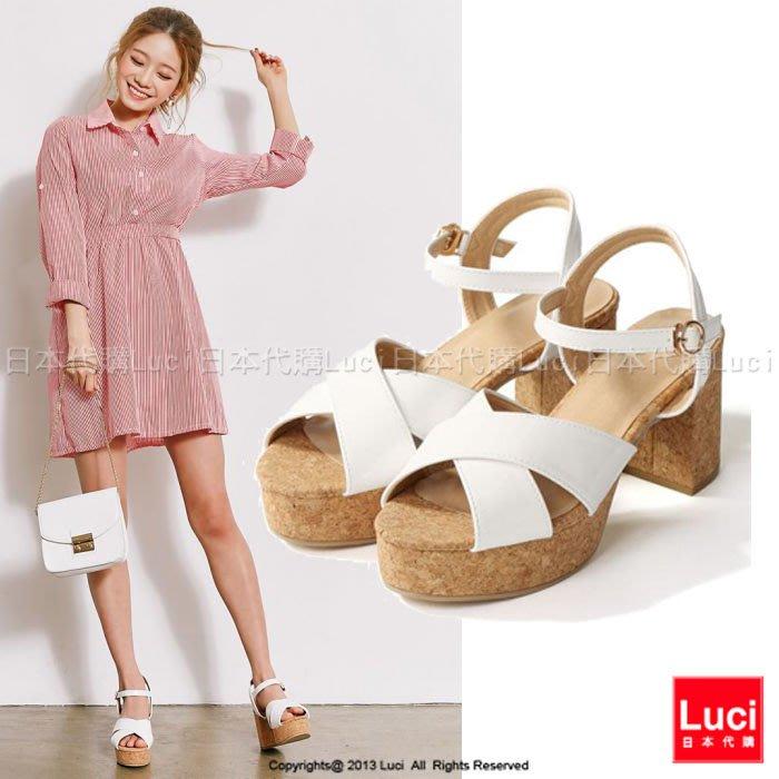 厚底高跟鞋 交叉寬帶高跟涼鞋  軟木塞跟 厚底涼鞋 日雜款  LUCI日本代購 [ds63aqd]