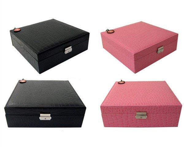 5Cgo【鴿樓】會員有優惠 10796706449 亮面鱷魚皮紋正方二層首飾盒 手鐲盒收納盒 公主首飾箱 珠寶盒