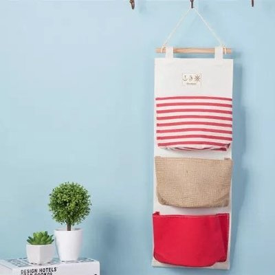 zakka海軍風系列多兜掛袋 棉麻三兜掛袋 門後立體式立體收納袋