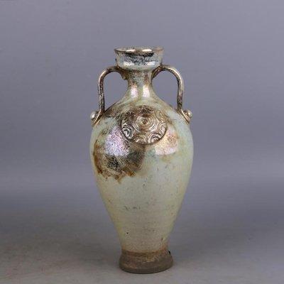 【三顧茅廬 】唐代銀光窯金銀釉堆花雙耳盤口梅瓶 出土文物古瓷器手工古玩收藏