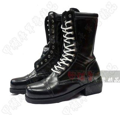 《甲補庫》~正三軍儀隊12孔全真皮長筒木跟皮靴/加鐵皮儀隊靴/機車連重機靴/媲美哈雷靴