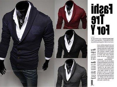 『潮范』新款翻領男士拼色針織衫針織外套素面針織衫棉質立領外套夾克開衫NRB071644