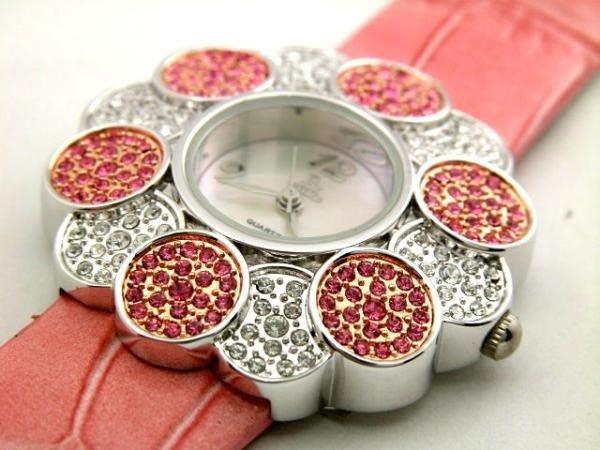 六四三鐘錶精品店=SK=(真品)超美豪華珠寶錶.(日本星辰機芯).錶殼撲滿粉紅白水鑽.