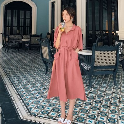 連身裙 (19JHL0803-7) 超氣質法式女人味雪紡連身裙 短袖洋裝 長洋裝 預購