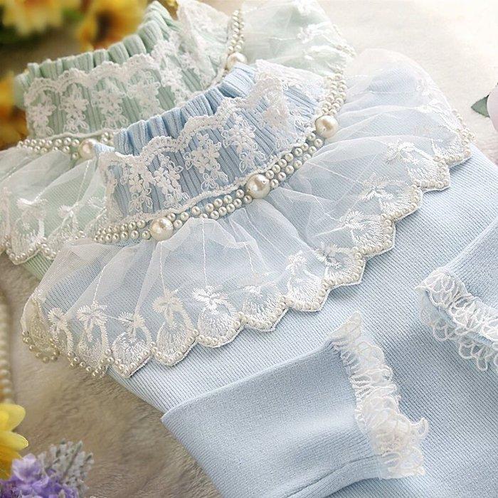 粉紅玫瑰精品屋~秋冬新款針織高彈力修身高領珍珠蕾絲套頭打底衫~