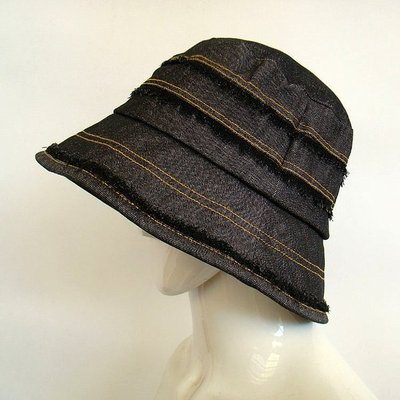 秋季新品牛仔布漁夫帽盆帽女士防曬太陽帽戶外出遊休閒帽子日單款