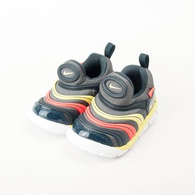 NIKE  DYNAMO FREE PRINT 小童 毛毛蟲鞋-鐵灰/橘/綠 343938024 現貨