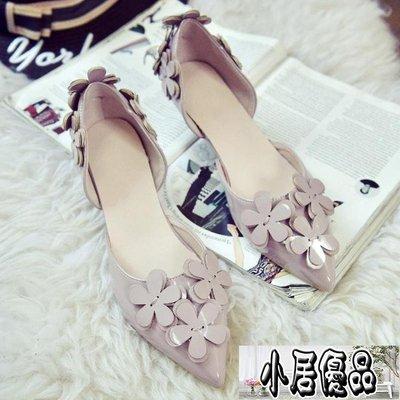 低跟鞋細跟甜美百搭顯瘦尖頭女高跟鞋3cm中空花朵低跟小伴娘鞋【小居優品】