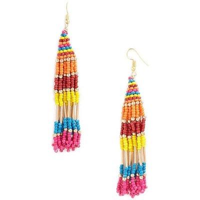 正品 FOREVER 21 beaded tassel drop earrings