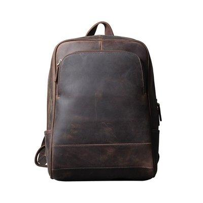後背包真皮雙肩包-瘋馬牛皮復古大容量男女包包73vz3[獨家進口][米蘭精品]