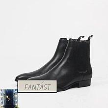 SAINTLAURENT 黑色亮皮套筒切爾西鞋