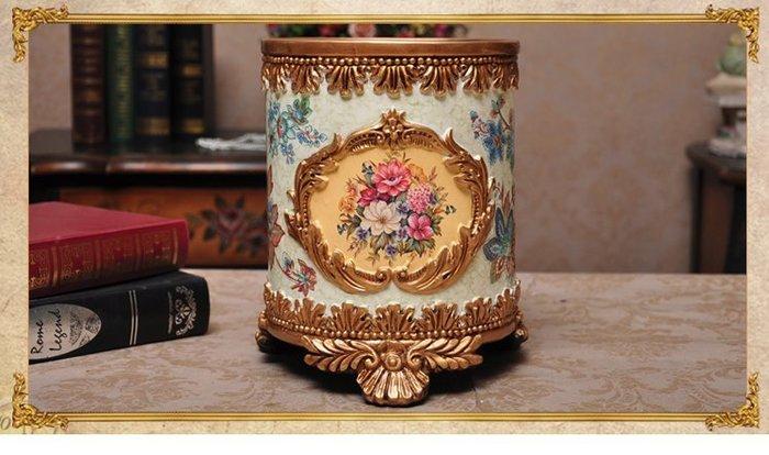 粉紅玫瑰精品屋~歐式宮廷風格花瓶 垃圾桶 雜物收納盒~現貨+預購
