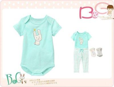 【B& G童裝】正品美國進口GYMBOREE兔子藍色短袖連身衣6-12-18mos