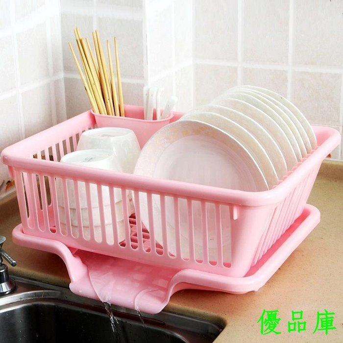 優品庫塑料帶蓋瀝水籃收納碗碟架特大號碗柜超大碗盆碗筷廚房碗架放雙層