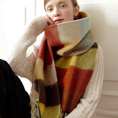 羊毛披肩 長 圍巾-加厚蓬鬆彩色格子女配件73wq6[獨家進口][米蘭精品] 高雄市