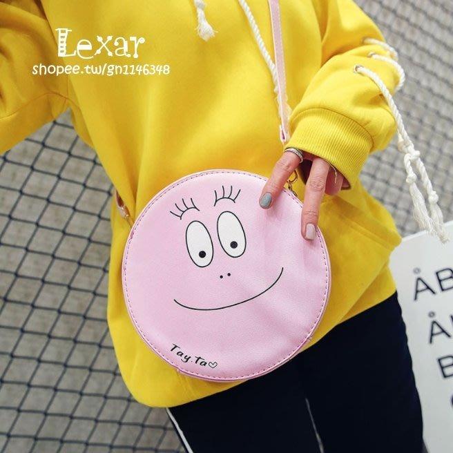 泡泡先生女包新款太極笑臉小圓包休閒太極PU單肩斜挎包可愛女生迷你小包包
