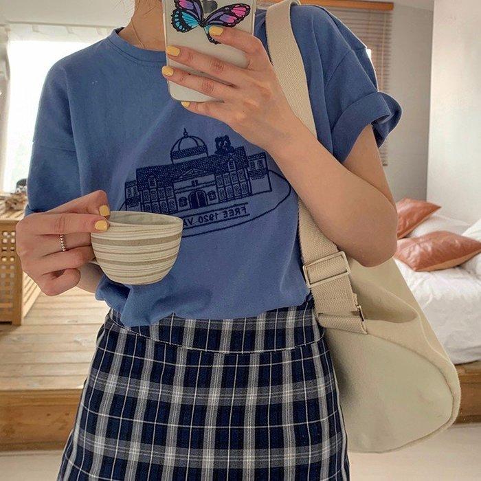U46 韓系 城市 城堡刺繡 質感藍 棉T 短袖上衣 印花 圖片T 學院風 純棉 質感 INS T袖 氣質 圖案T