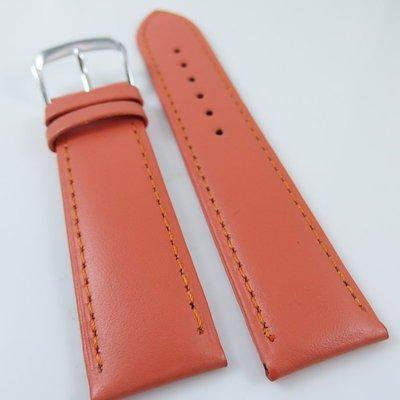 錶帶屋 22mm 收 20mm LIMA 義大利橘色柔軟小羊皮錶帶素面真皮錶帶代用Omega ORIS等