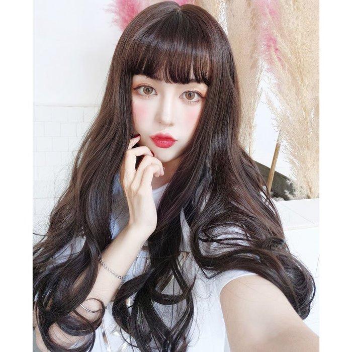 *╮Kinkee假髮╭* 清新女神 空氣瀏海 長捲髮 整頂假髮【F150】