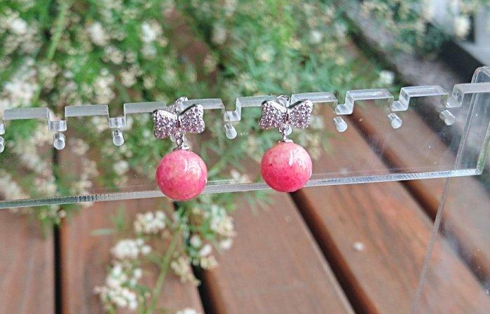 ~水晶花園~ 愛的守護水晶 薔薇輝石耳環(玫瑰石)