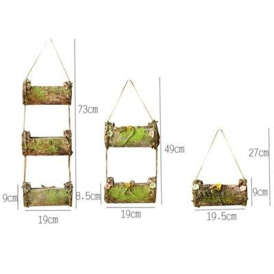 墻面裝飾花籃吊掛花器田園創意家居二層麻繩天然樹皮插花花桶花盆