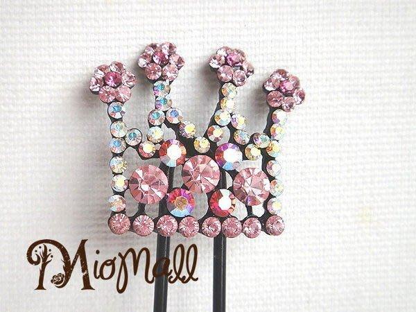 ♥名媛款奧地利水晶鑽七彩粉紅皇冠髮簪♥就像戴了星星在頭上♥