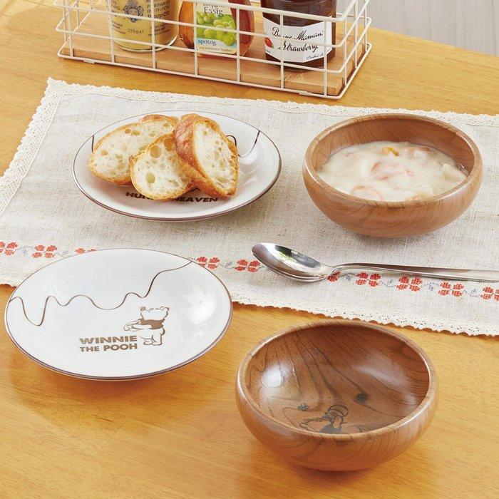 迪士尼Disney《預購》小熊維尼 木紋陶瓷 碗盤組 4入一組~可微波~日本製~心心小舖