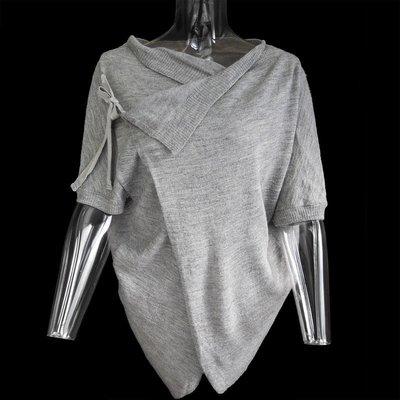 日本la chambre d'ine(i・n・e )專櫃品牌灰色特殊造型羊毛蝙蝠袖外套 Free size
