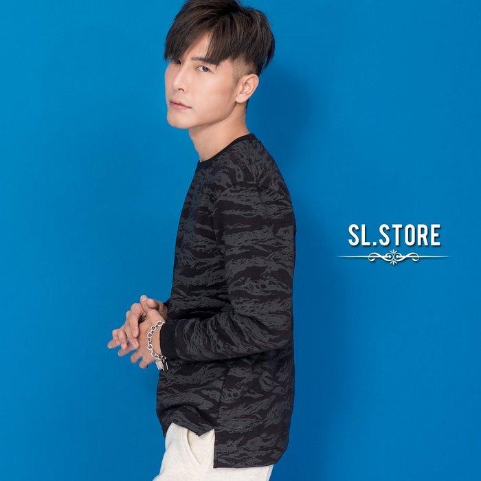 SL Store【YH887】虎斑紋前短後長開叉刷毛圓領大學T.黑/M/L/XL