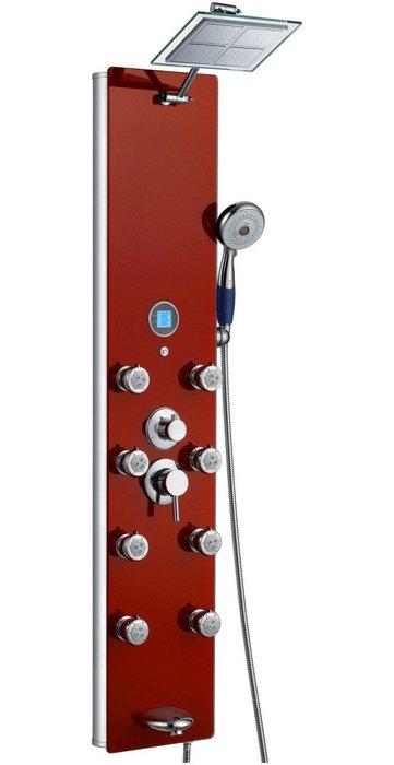 《101衛浴精品》紅色強化玻璃鏡面淋浴柱-787-392-R,8噴頭,噴嘴可拆洗【貨到付款 免運費】