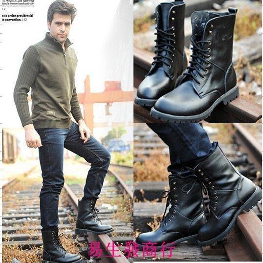 【易生發商行】冬季加絨馬丁靴棉鞋軍靴韓版潮流男士棉靴皮靴特種兵高筒F6186