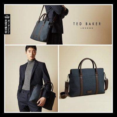 ♔MissyJ英國代購♥ Ted Baker 英倫品牌城市旅人簡約深藍色高質感霧面手提側背包功能型電腦包公事包信差包書包