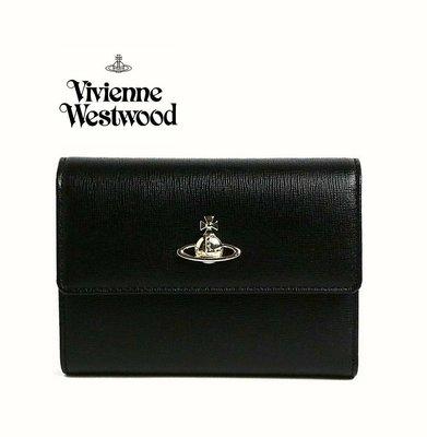 Vivienne Westwood ( 黑色 ) 防刮真皮三摺中夾 皮夾 錢包|100%全新正品|特價 !