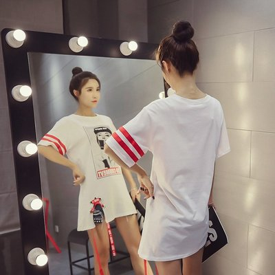 FINDSENSE G5 韓國時尚 學院風 字母 條紋 美女 中長款 大尺碼 寬鬆 T恤